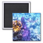 Belize! Purple Sea Fan 2 Inch Square Magnet