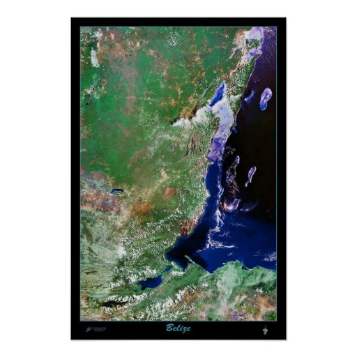 Belize satellite poster photo print map