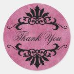 Belize Scroll Flourish Thank You (lilac/black) Stickers