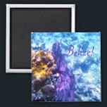 """Belize Sea Fan Magnet<br><div class=""""desc"""">Underwater scene - a purple sea fan waves near the edge of the barrier reef off the coast of Belize</div>"""