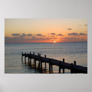 Belize Sunrise Dock Poster