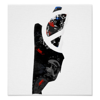 Belize Trendy Peace Sign with Belizean map Poster