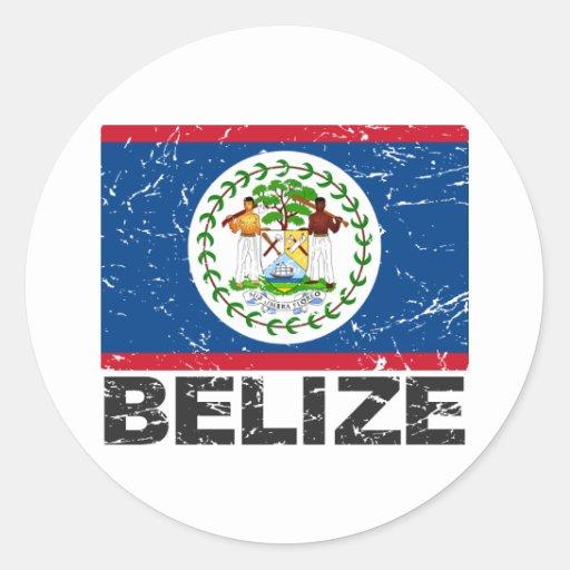 Belize Vintage Flag Round Stickers