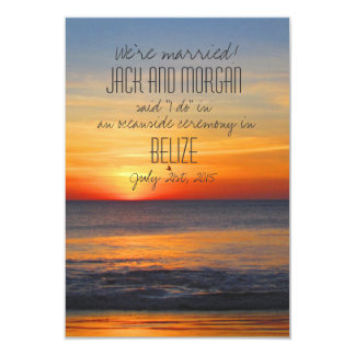 Belize We're Married Beach Wedding Announcements