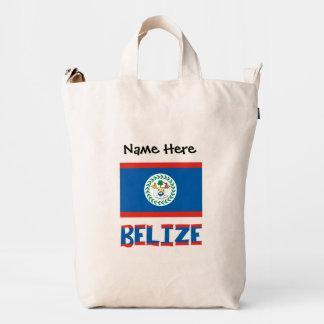 Belizean Flag and Belize with Name Duck Bag