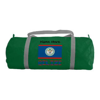 Belizean Flag and Belize with Name Duffle Bag