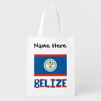 Belizean Flag and Belize with Name Reusable Grocery Bag