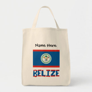 Belizean Flag and Belize with Name Tote Bag