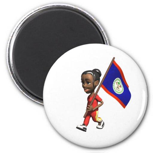 Belizean Girl 2 Inch Round Magnet