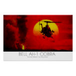 Bell AH-1 Cobra Attack Helicopter surreal scene Poster