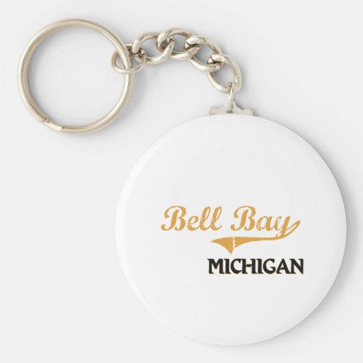 Bell Bay Michigan Classic Basic Round Button Keychain