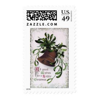 Bell con navidad del vintage del muérdago sello postal
