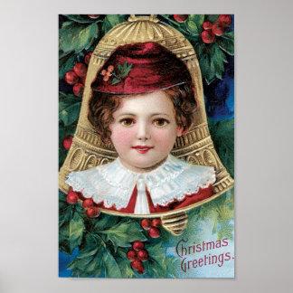 Bell en el árbol de navidad póster