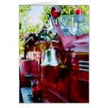 Bell en el coche de bomberos tarjeton