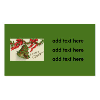 Bell Holly Red Ribbon Berry Garland Business Card