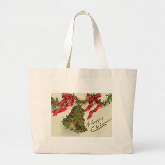 Bell Holly Red Ribbon Berry Garland Jumbo Tote Bag