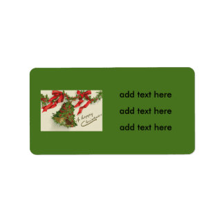 Bell Holly Red Ribbon Berry Garland Label