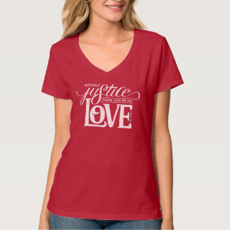bell hooks Without Justice Fitted Red V-Neck Tee Shirt