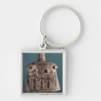 Bell idol, from Thebes, Boeotia, c.700 BC Silver-Colored Square Keychain