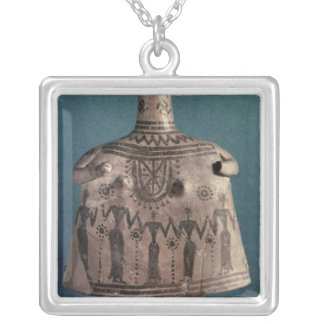 Bell idol, from Thebes, Boeotia, c.700 BC Square Pendant Necklace