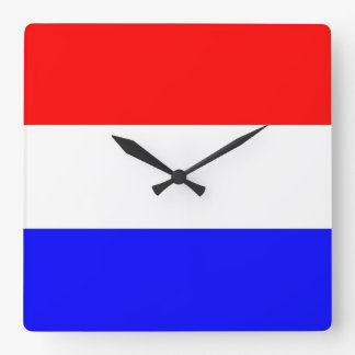 Bell in rood-wit-blauw square wallclocks