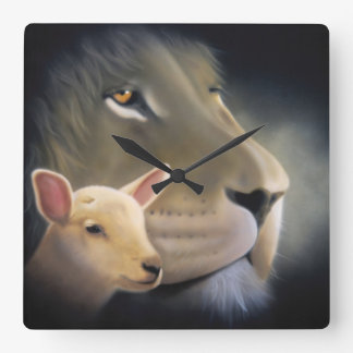 Bell: Lion and it Lam Square Wallclock