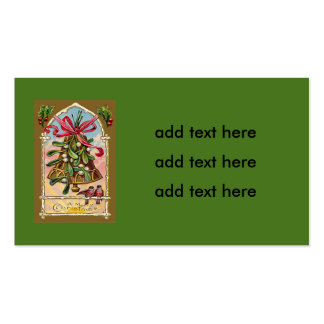 Bell Mistletoe Holly Christmas Bird Double-Sided Standard Business Cards (Pack Of 100)