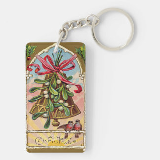 Bell Mistletoe Holly Christmas Bird Keychain