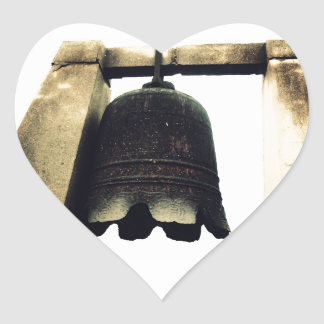 Bell On Ancient City Wall Heart Stickers