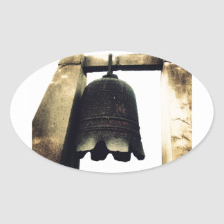 Bell On Ancient City Wall Oval Stickers
