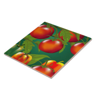 Bell Peppers and Tomatoes Kitchen Tile