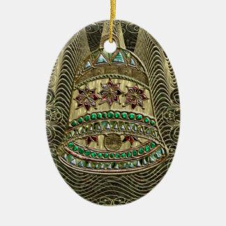 Bell preciosa adorno navideño ovalado de cerámica