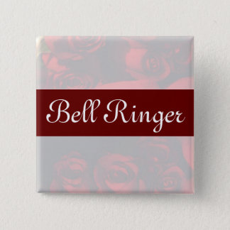 """""""Bell Ringer"""" - Red Rose Bouquet (2) Pinback Button"""