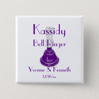 """""""Bell Ringer"""" w/ Names and Wedding Date Pinback Button"""