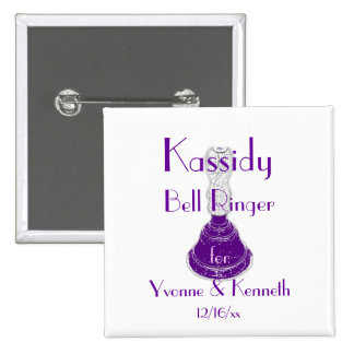 """Bell Ringer"" w/ Names and Wedding Date Pinback Button"