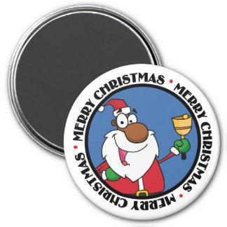 Bell Ringing Black Santa Claus 3 Inch Round Magnet