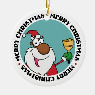 Bell Ringing Black Santa Claus Christmas Ornaments