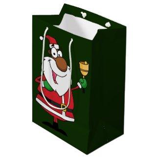 Bell Ringing Black Santa Claus Medium Gift Bag