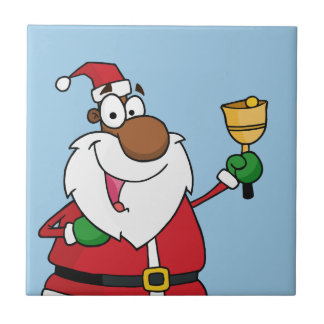 Bell Ringing Black Santa Claus Ceramic Tiles