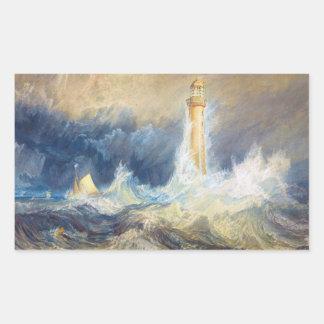 Bell Rock Lighthouse Joseph Mallord William Turner Rectangular Sticker
