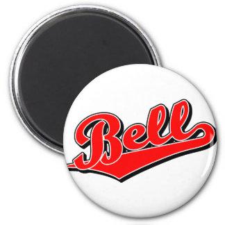 Bell script logo in red magnet