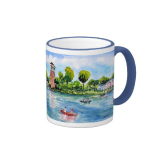 bell tower from the water panorama coffee mugs