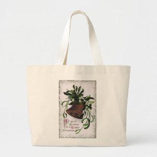 Bell with Mistletoe Vintage Christmas Large Tote Bag