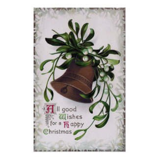 Bell with Mistletoe Vintage Christmas Poster