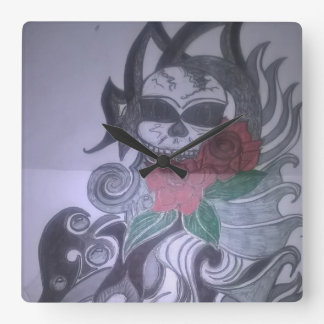 bell with print of tattoo design btje square wall clock
