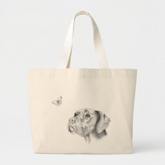 Bella A Boxer Labrador Retriever Dog Butterfly Large Tote Bag