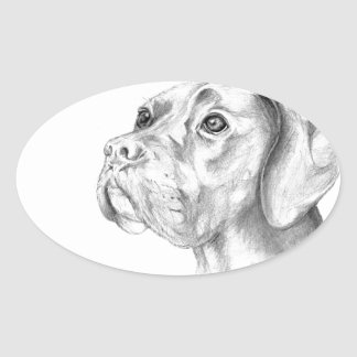 Bella A Boxer Labrador Retriever Dog Butterfly Oval Sticker