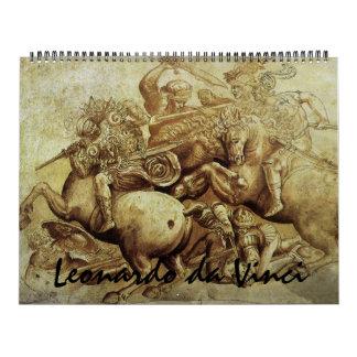 Bella arte 2014 y bosquejos de Leonardo da Vinci Calendario De Pared