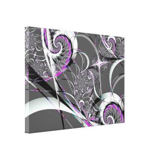 Bella arte abstracta de las cintas de plata lienzo envuelto para galerías