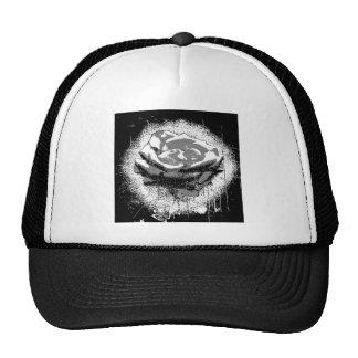 Bella arte color de rosa blanco y negro gorro de camionero